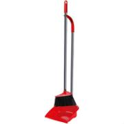 VILEDA LONGHANDLE DUSTPAN WITH BRUSH