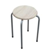 STOOL SILVER/OAK COVER