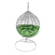 CASA WHITE HANGING CHAIR WITH GREEN CUSHION