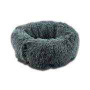 PET BED SHAGGY 45CM GREY