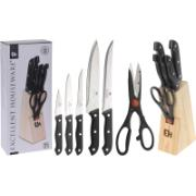 WOODEN BASE WITH 5 KNIVES + 1 KITCHEN SCISSORS