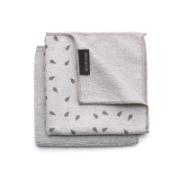 BRABANTIA MICROFIBRE DISH CLOTHS, 30 X 30 CM, SET OF 2 - LIGHT GREY