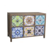 WOODEN CABINET 6 DRAWERS 67x32x48CM