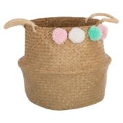 2 HANDLED BASKET WITH POMPON