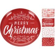 PLATE MELAMINE 4ASS JOLLY XMAS