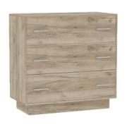 CHEST OF DRAWER WITH 3 DRAWERS L90XD44XH81CM BLONDE/GREY