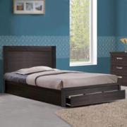 BED WDN W DRW 110X190 WALNUT