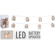 LED CHAIN WOODEN HOUSES 10L