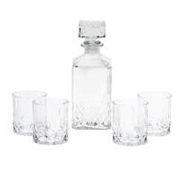 WHISKEY JAR WITH 4 GLASSES