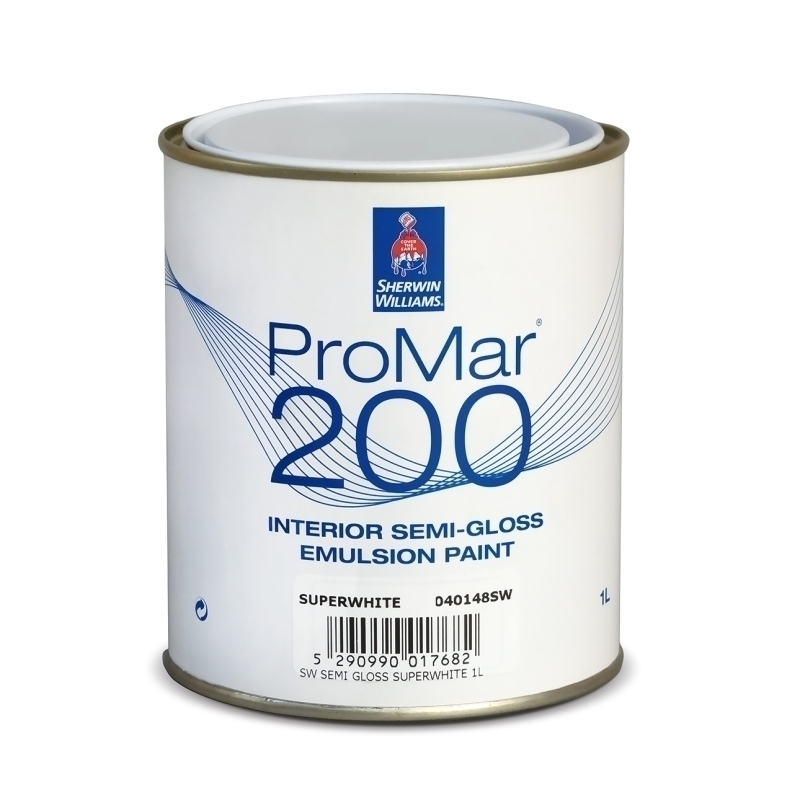 SHERWIN-WILLIAMS® PROMAR® 200 SEMI-GLOSS EMULSION SUPERWHITE 1L