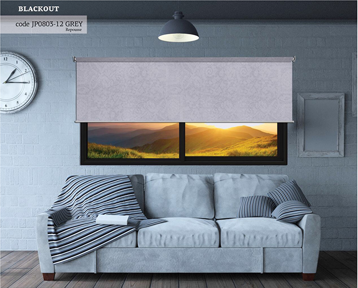 ROLLER BLIND BLACKOUT GRAY REPUSSE 120X270CM