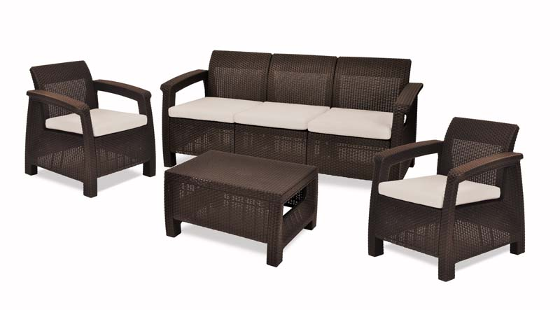 CORFU 4PCS SOFA SET BROWN TRIBLE SOFA