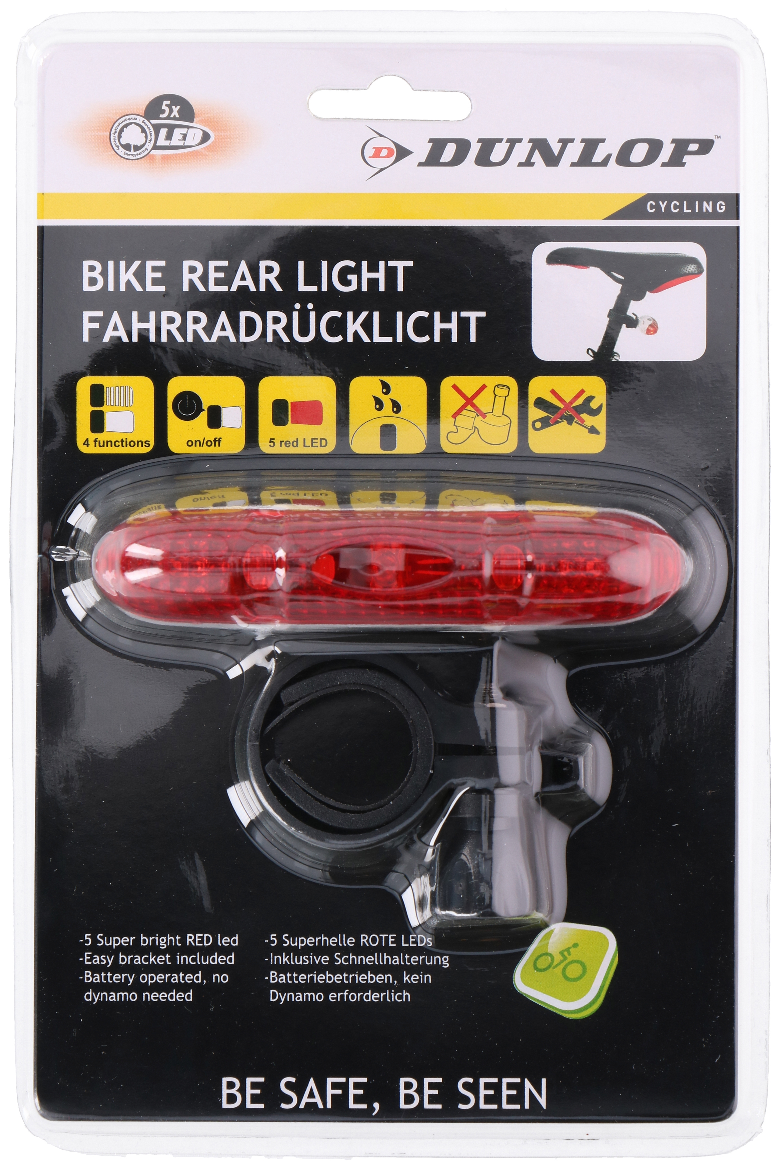 DUNLOP BIKE REAR LIGHT RED 5LED