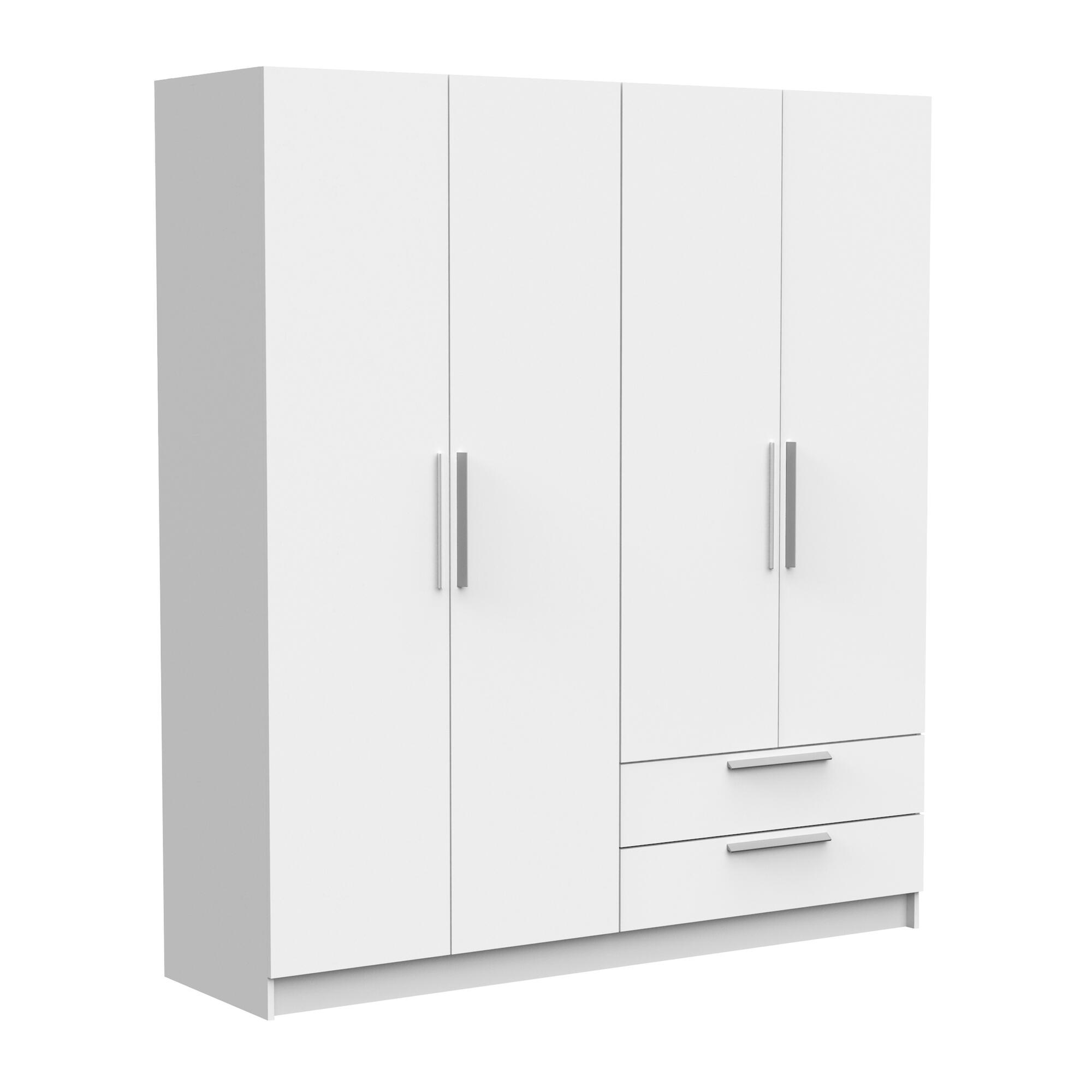 WARDROBE 4 DOORS +  2 DRAWERS WHITE