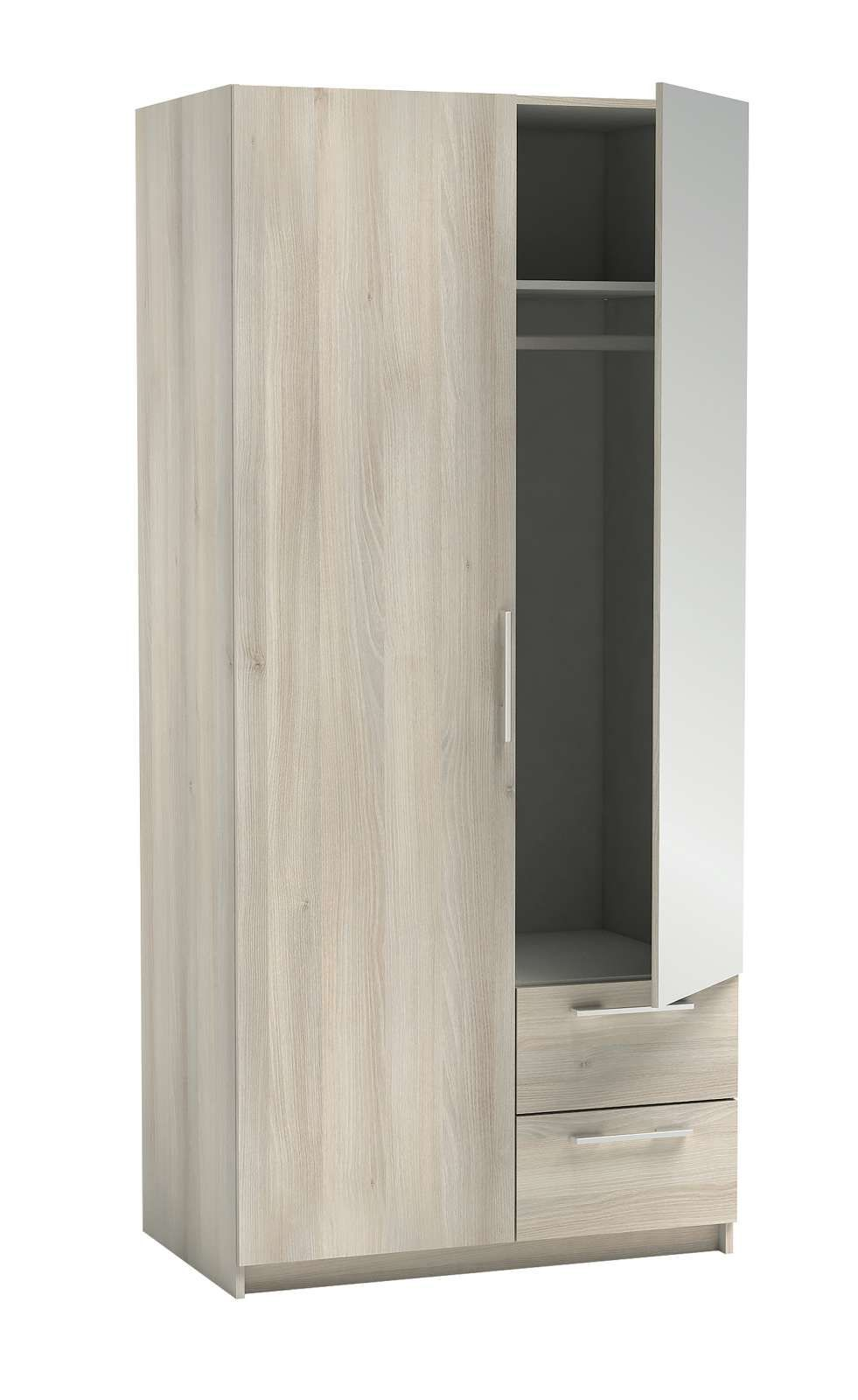 WARDROBE 2DOORS 2DRAWERS NEW YORK LIGHT OAK