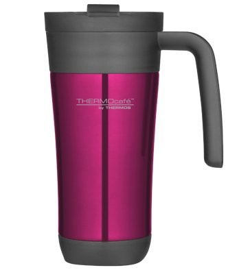THERMOS TRAVEL MUG 450ML PINK WITH HANDLE