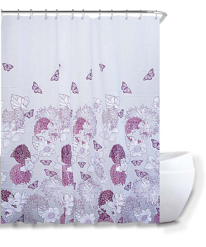 SHOWER CURTAIN 180X180 PEVA BUTTERFLI