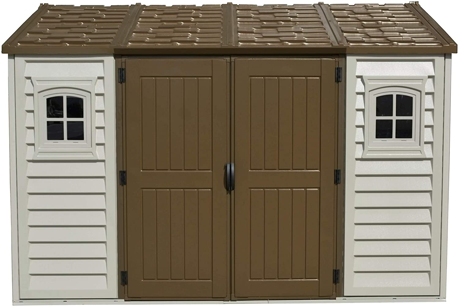 DURAMAX PLASTIC APEX SHED 10.5X8FT IVORY/BROWN
